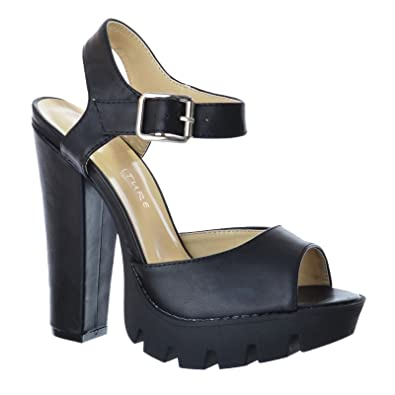 3bdb1ee4b85aad NEU Damen Knöchelriemen profilierte Sohle PeepToe Plateau High Heels  Sandalen Größe - schwarz Kunstleder