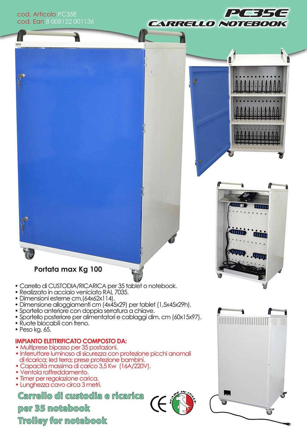 pc35e carro de seguridad para la carga y funda de ordenador portátil o tablet de 35 postazioni elettrificate: Amazon.es: Electrónica