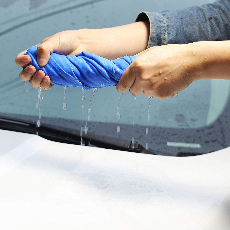 Blue Car Drying Towel KOLHOFFR 2 Pack Shammy Towel for Car 26 x 17 Chamois Cloth for Car
