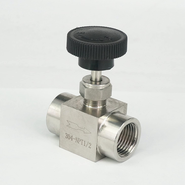 Sorekarain 1//2 NPT Female Needle Valve 304 Stainless Steel Water Gas Oil Flow Control