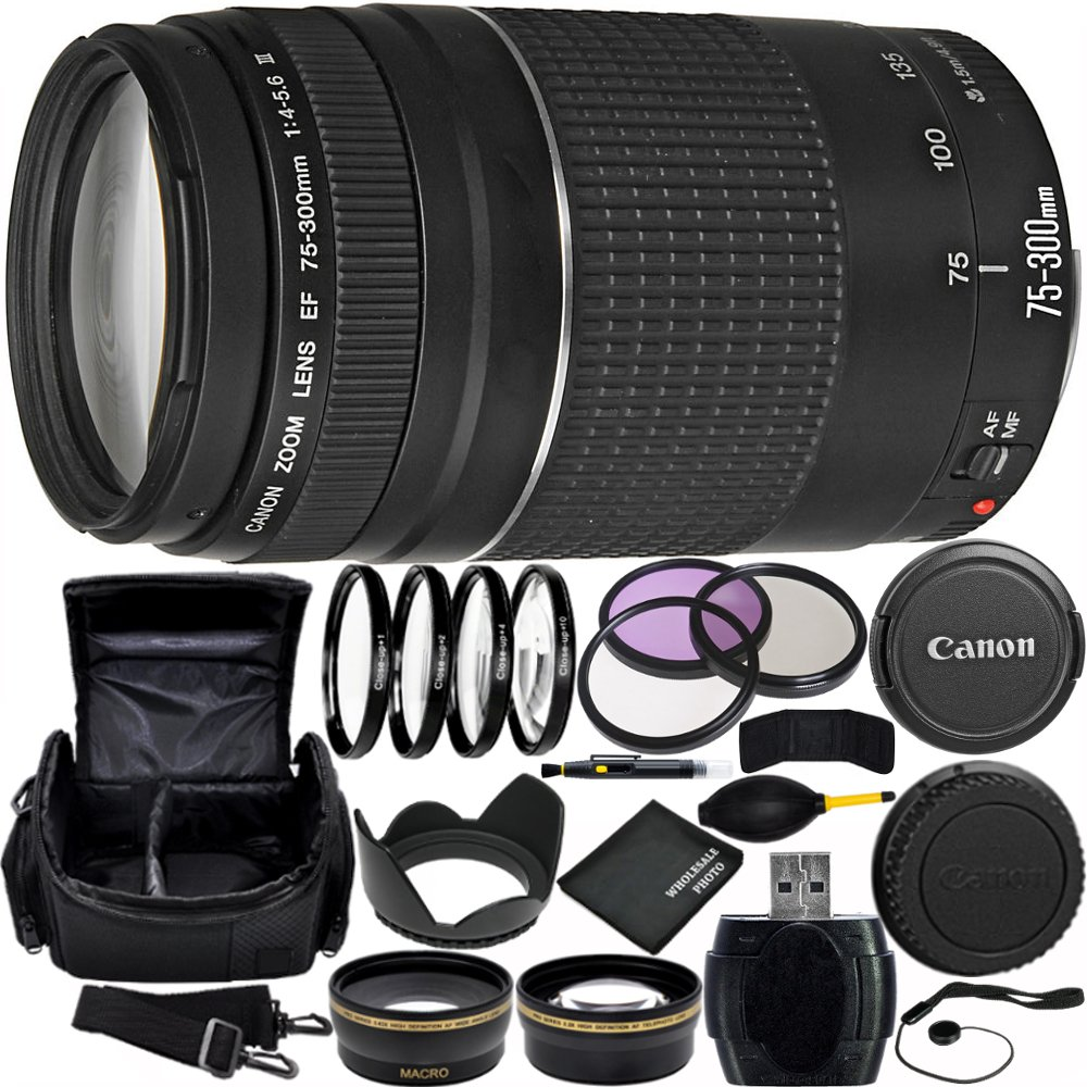 Canon EF 75-300mm f/4-5.6 III Lens Bundle with Manufacturer Accessories & Accessory Kit for EOS 7D Mark II, 7D, 80D, 70D, 60D, 50D, 40D, 30D, 20D, Rebel T6s, T6i, T5i, T4i, SL1, T3i, T6, T5, T3, T2i