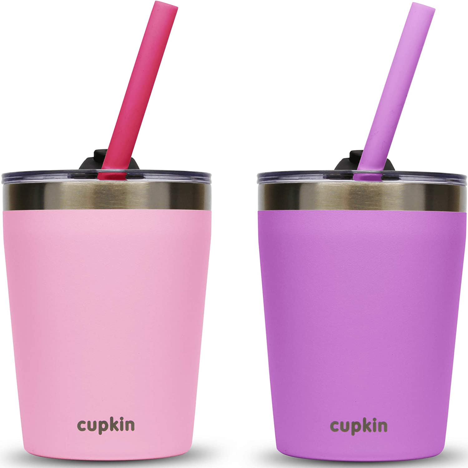 Stackable Stainless Steel Toddler Cups for Kids by CUPKIN - Set of 2 Powder Coated 8 oz Vacuum Insulated Tumblers, 2 Non BPA Lids and 2 Food Grade Reusable Silicone Straws (Pink + Purple)