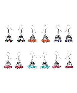 Waama Jewels Multicolor Silver-Plated Combo Of 6 Jhumki Earrings For Women