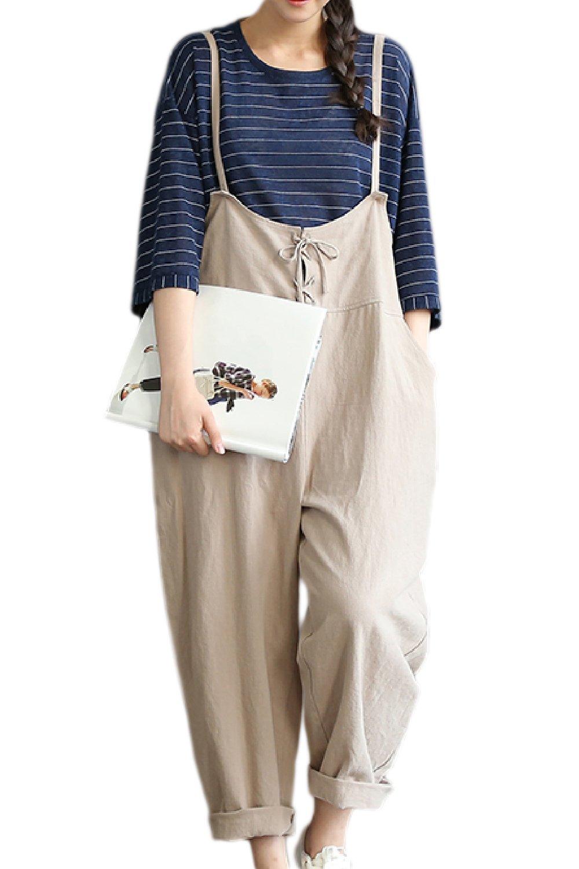 Fanvans Women Maternity Lounge Pants Linen High Waist Jumpsuit