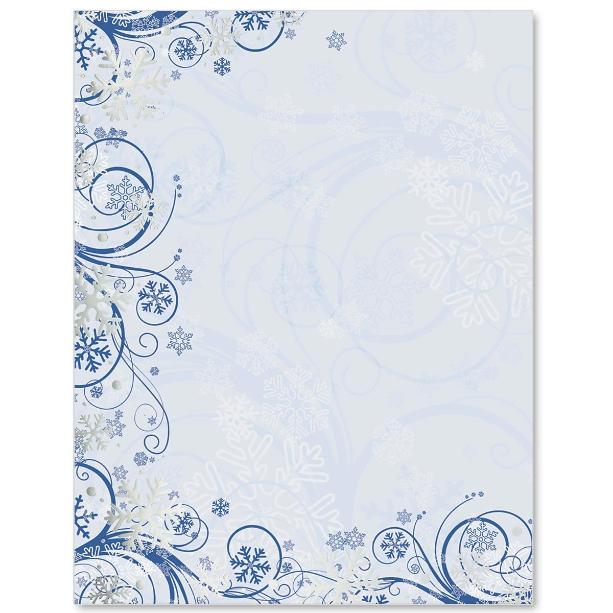 Silver Foil Winter Waltz Border Papers, 8.5 x 11, 100 Count