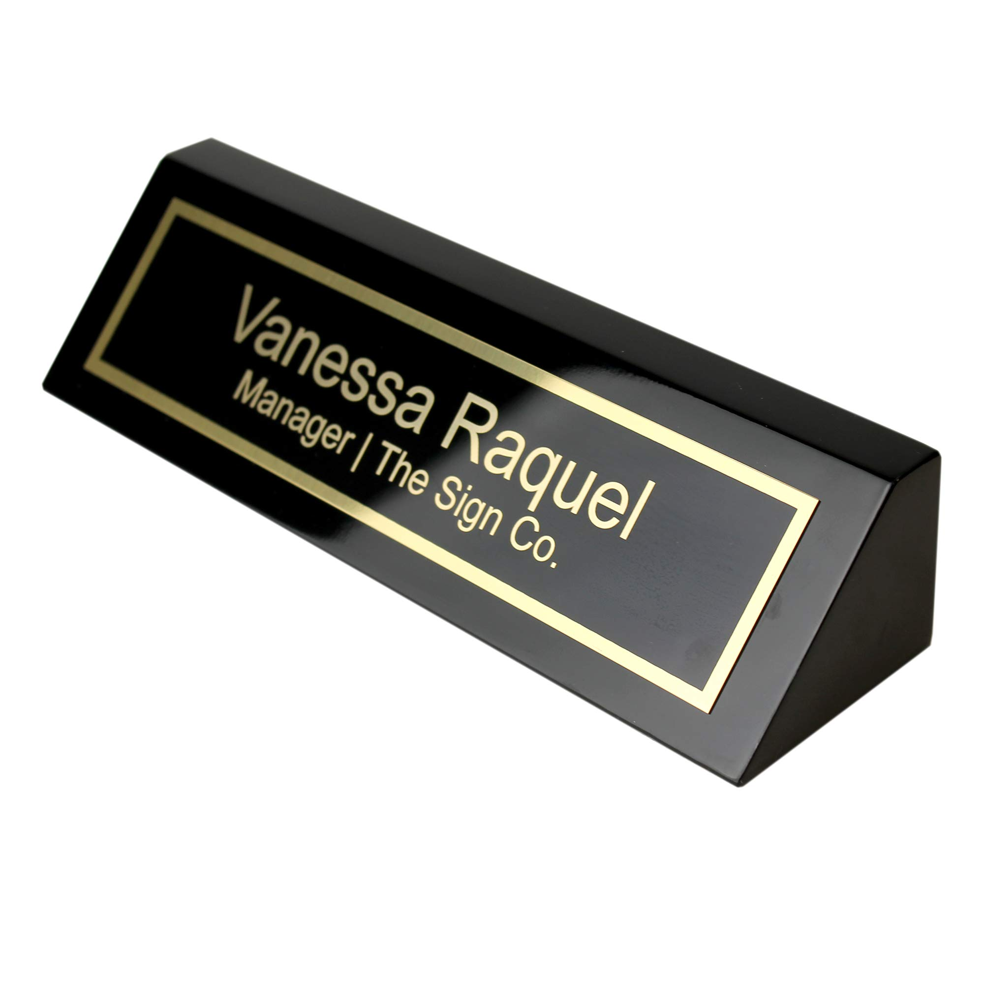 Personalized Business Desk Name Plate - Office Name Plate for Desk - Black Piano - Includes Engraving