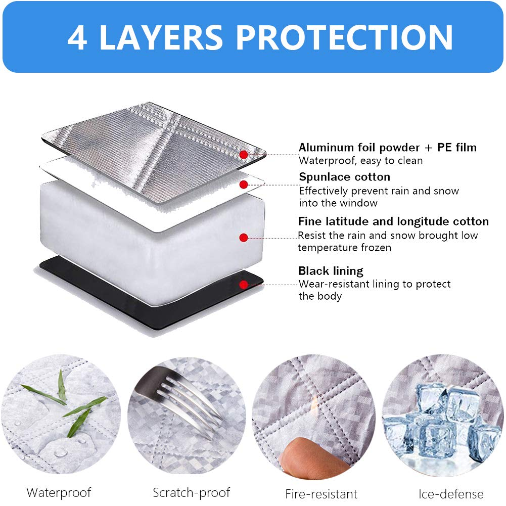 OKAYC Car Windshield Snow Cover Ice Cover with Extra Large /& 4 Layers Protection,Snow,Ice,UV,Frost Defense,Windshield Winter Cover Fits Most Cars and SUV M