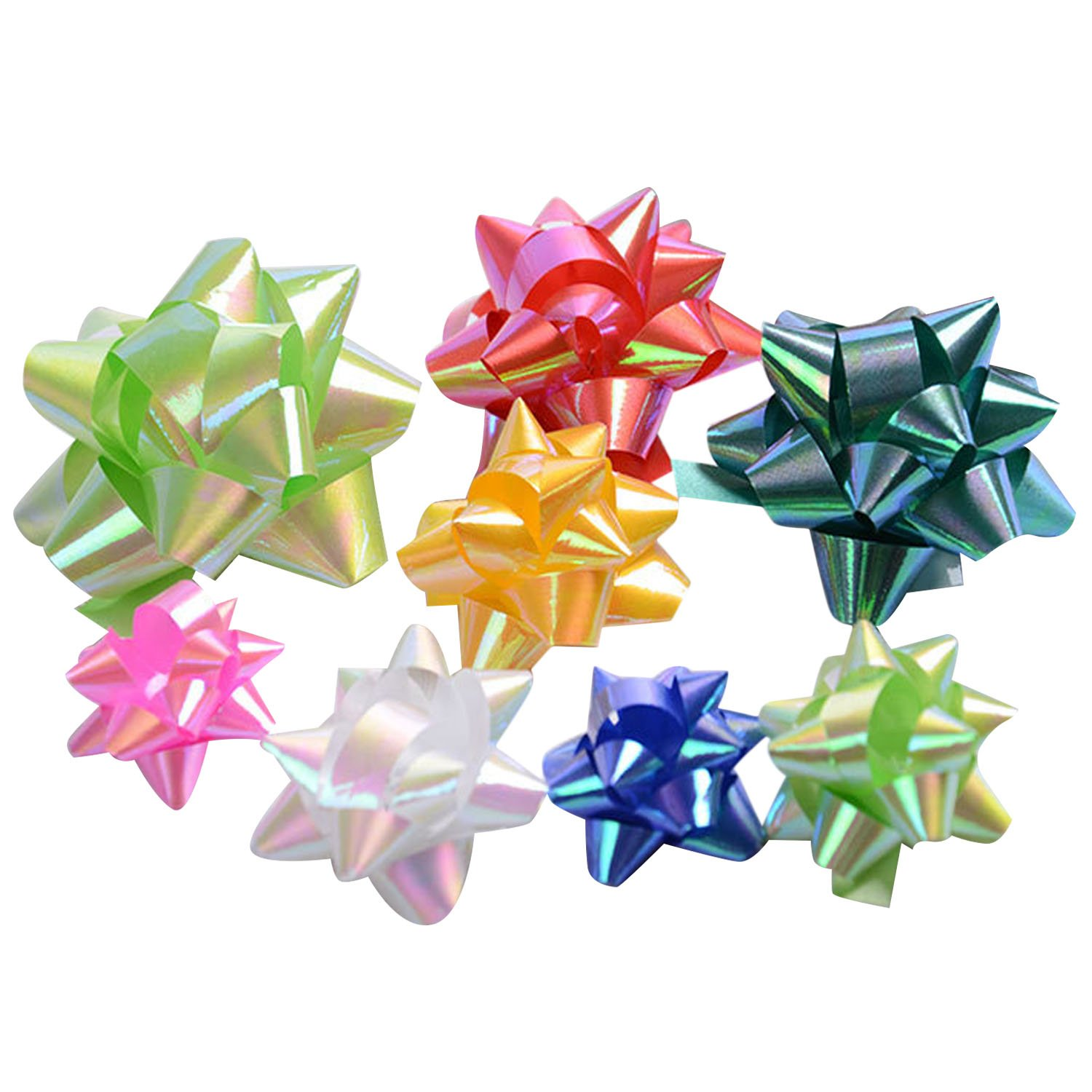 51pcs 3 Sizes Colorful Self Adhesive Christmas Star Flower Gift Wrap Bows Craft Supplies Present Package Wrapping Decoration Wedding Decoration Random Colors Gosear