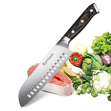 Cuchillo de cocina Symbom Santoku Cuchillo Cuchillo de chef japonés Cuchillo de sushi Cuchillo Santoku hueco de 7 pulgadas, afilado adicional con hoja ...