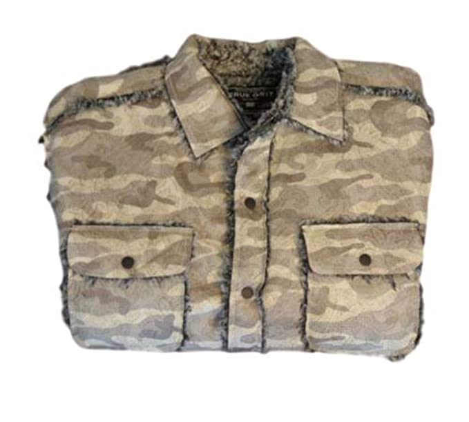 d2245833a True Grit Camo Sherpa Snap Jacket at Amazon Men s Clothing store