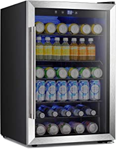 Antarctic Star Beverage Refigerator -145 Can Mini Fridge for Soda Beer or wine,Small Drink Dispenser, For Office or Bar with Adjustable Removable Shelves,4.5 Cu. Ft. BLACK