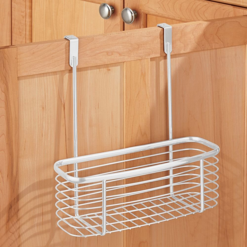 InterDesign Axis Over the Cabinet Kitchen Storage Organizer Basket for Aluminum Foil, Sandwich Bags, Cleaning Supplies - Small, White