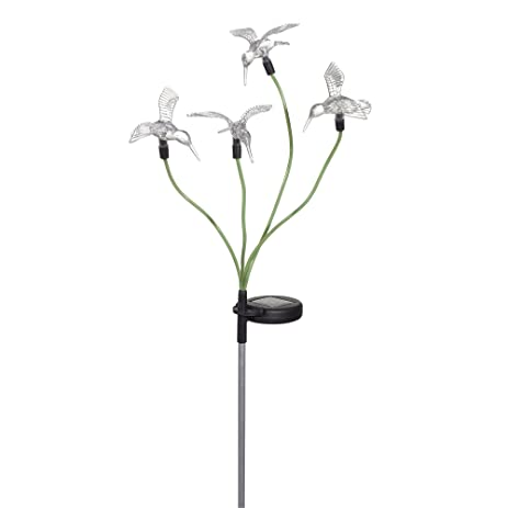 Grasslands Road 32u0026quot; Plastic Solar Powered Hummingbird Garden Stake (2  Pack), Large