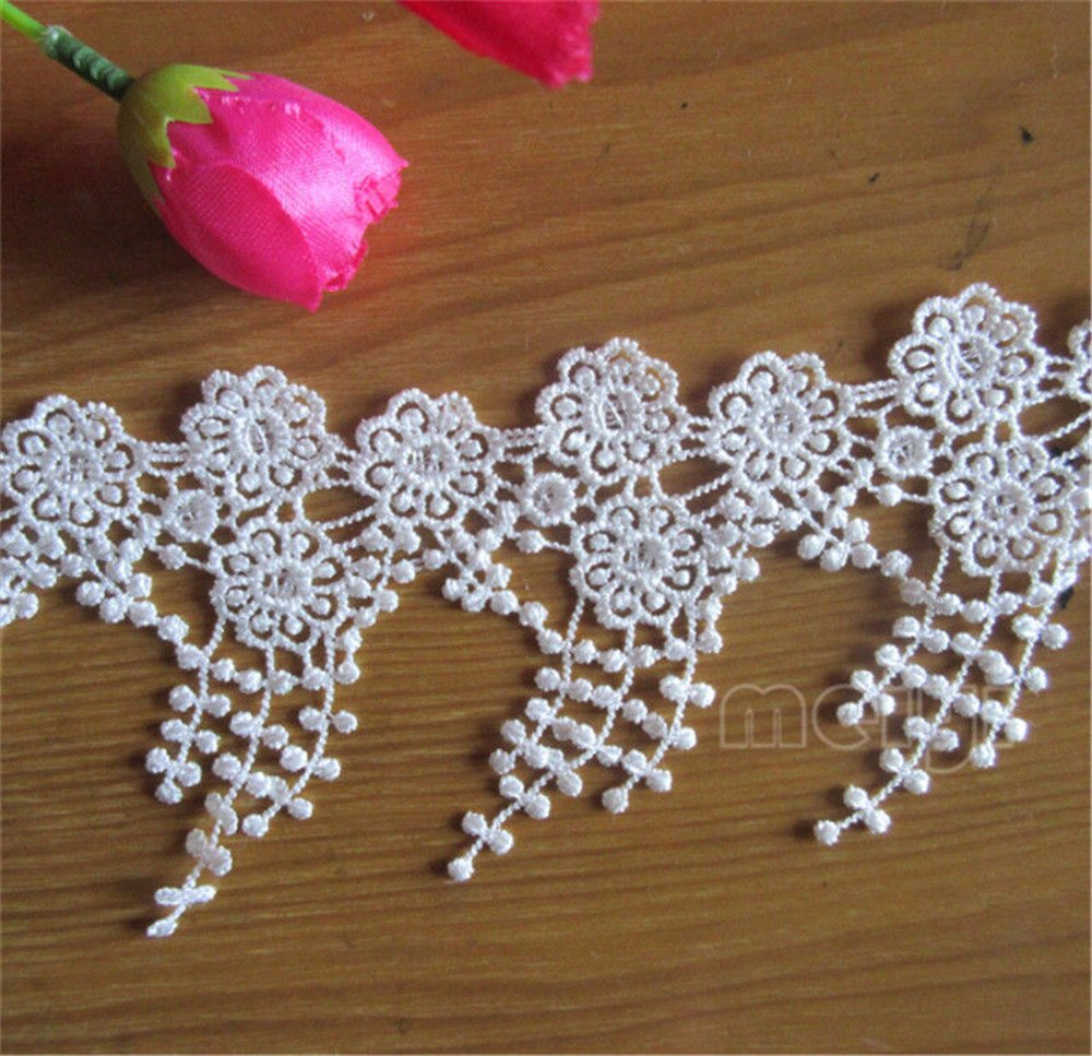 2 Meters Flower Tassel Fringe Lace Edge Trim Ribbon 9 cm Width Vintage Style White Edging Trimmings Fabric Embroidered Applique Sewing Craft Wedding Bridal Dress Embellishment DIY Clothes Embroidery