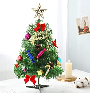 Tabletop Christmas Tree Set Artificial Mini Xmas Pine Tree with LED String Lights & Ornaments (23 in)