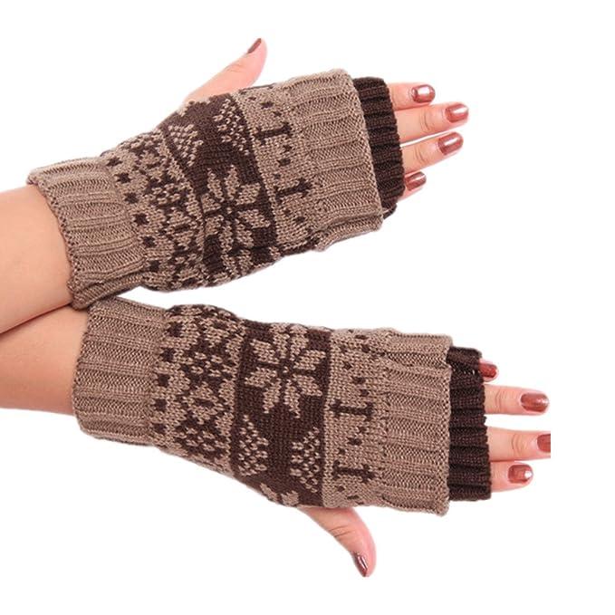 Winzik Women Girls Winter Snowflake Pattern Cable Knitted Fingerless