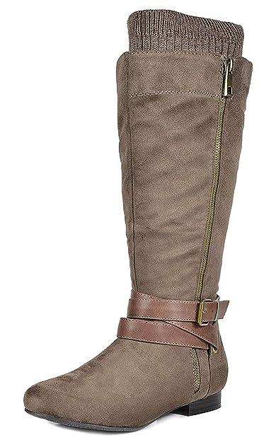 0944c3ac830 DREAM PAIRS Women s Beltran Khaki Faux Suede Knee High Riding Boots Wide Calf  Size 5.5 M