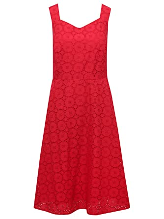 fdf79ee28b2b M&Co Ladies Red Cotton Sleeveless V Neck Circle Broderie Anglaise Lace Fit  and Flare Dress Red 8: Amazon.co.uk: Clothing