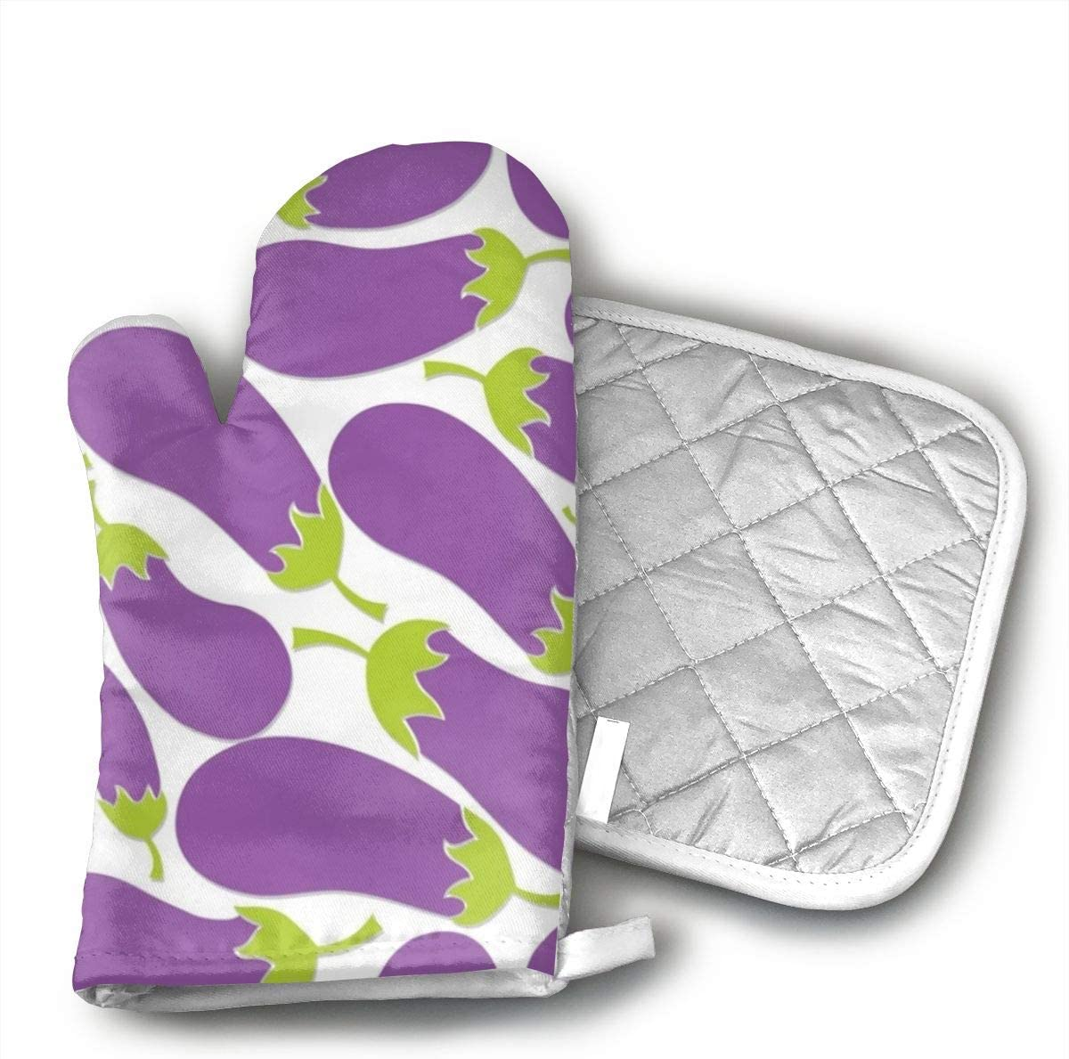 Wiqo9 Purple Eggplant Oven Mitts and Pot Holders Kitchen Mitten Cooking Gloves,Cooking, Baking, BBQ.