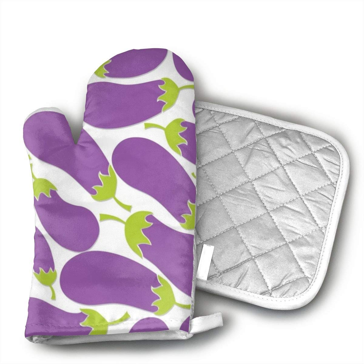 Purple Eggplant Oven Mitts And BBQ Gloves Pot Holders, Heat Resistant Mitts For Finger Hand Wrist Protection With Inner Lining, Kitchen Gloves For Grilling Machine Baking Grilling With Non-Slip