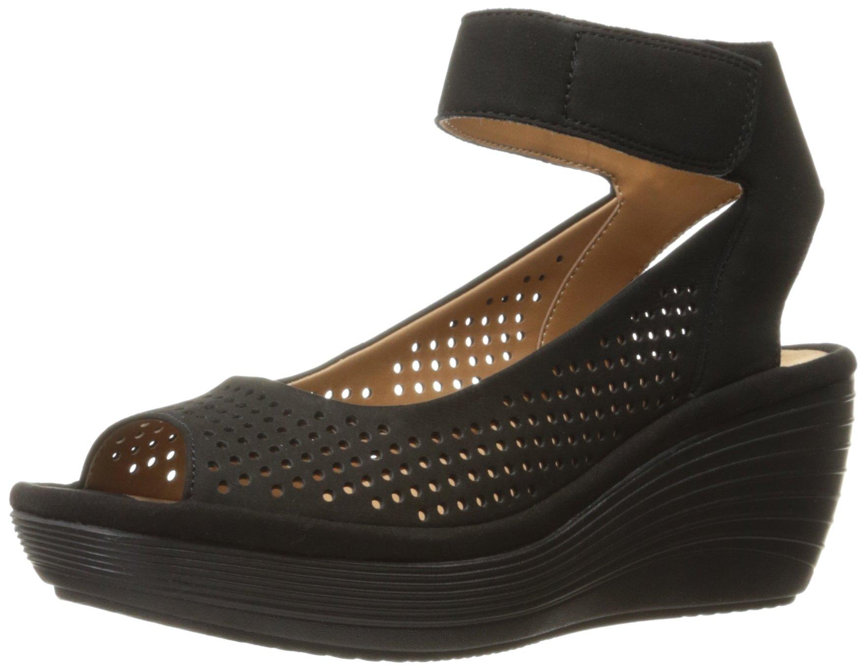 CLARKS Women's Reedly Salene Wedge Sandal, Black Nubuck, 7.5 M US by CLARKS