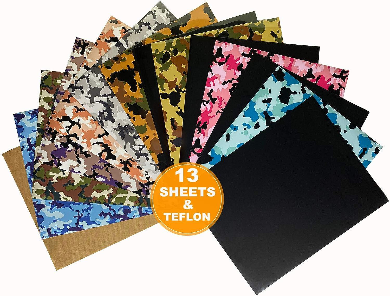 50% Off Coupon – 13 Sheets Camo & Black Iron-on Vinyl HTV Heat Transfer Vinyl Bundle