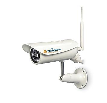 TriVision - Cámara de vigilancia para exteriores, cámara IP WiFi HD con DVR, sensor