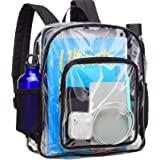 Clear Backpack, F-color Heavy Duty Clear Backpack Small for Adults, Boys, Girls, Security, School, Work, Travel and More…