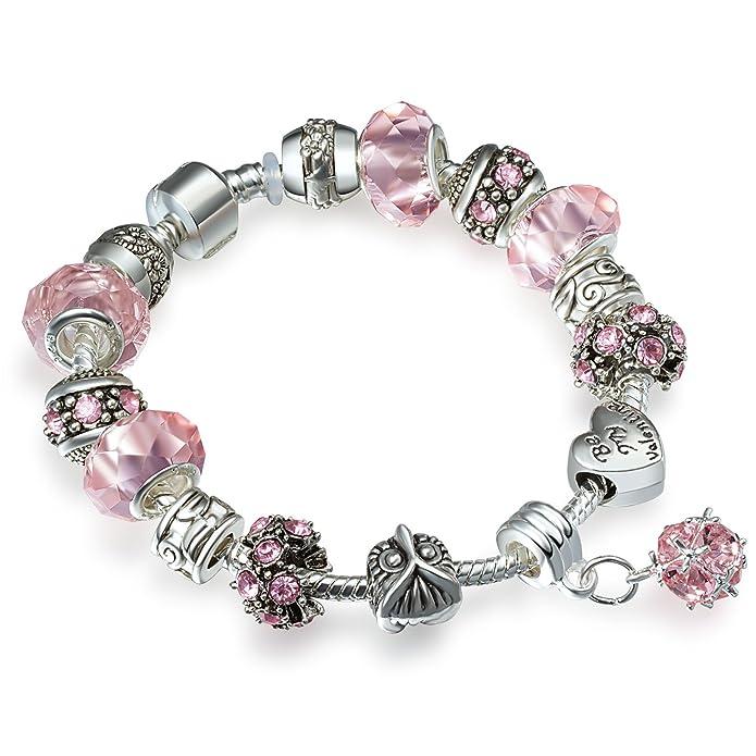 127 opinioni per A TE® Bracciale Charms Beads Cristalli rosa chiaro/sora/viola Regalo Donna