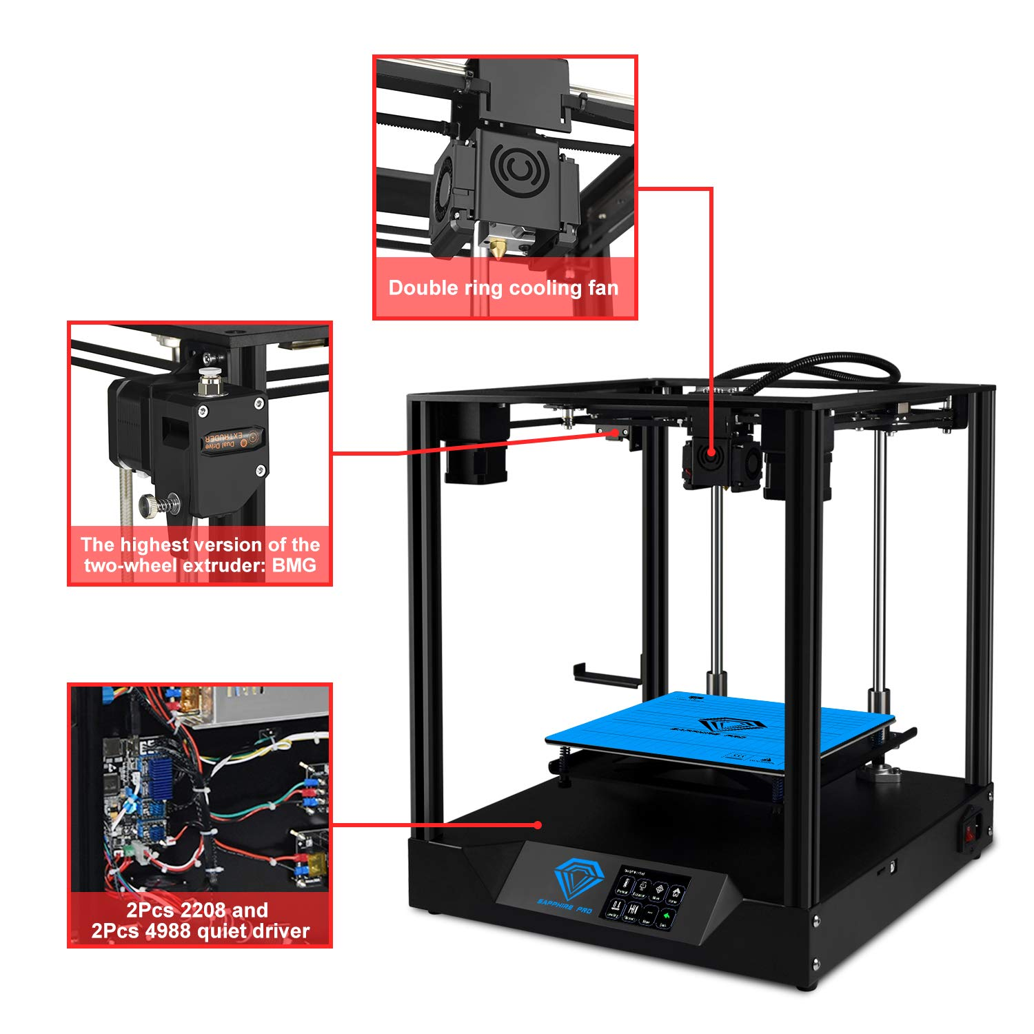 Two Trees 3D Printer Sapphire PRO High Precision CoreXY Structure DIY 3D Printer 235 x 235 x 235mm Printing Size with Power Resume Function//Off-line Print//3.5 inch Touch Display