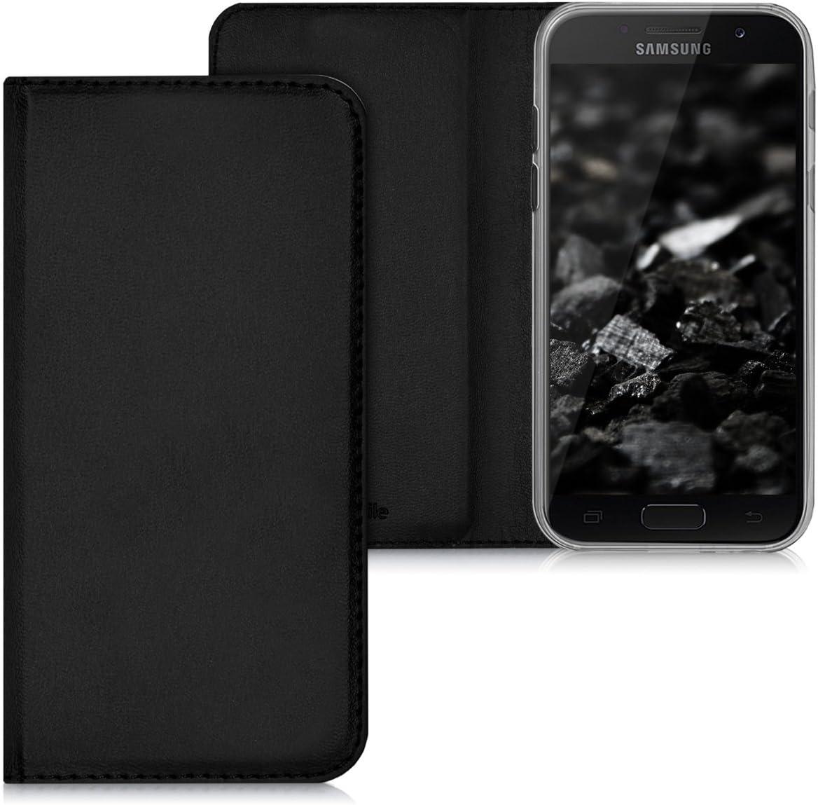 2017 - Carcasa de Cuero sint/ético kwmobile Funda movil Compatible con Samsung Galaxy A3 Case en Negro