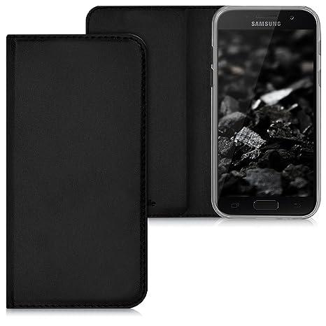 kwmobile Funda para Samsung Galaxy A3 (2017) - Carcasa para móvil de [Cuero sintético] - Case [Plegable] en [Negro]