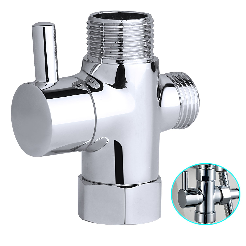 Hltd Metal T-adaptador con válvula de cierre, conector de 3 vías Tee, IPS de 1/2 pulgada Sistema de ducha de latón sólido pieza de reemplazo para bidé de mano, cromo pulido conector de 3 vías Tee