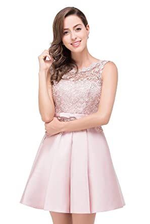 Juniors Illusion Lace Short Prom Homecoming Dress (Pink ...