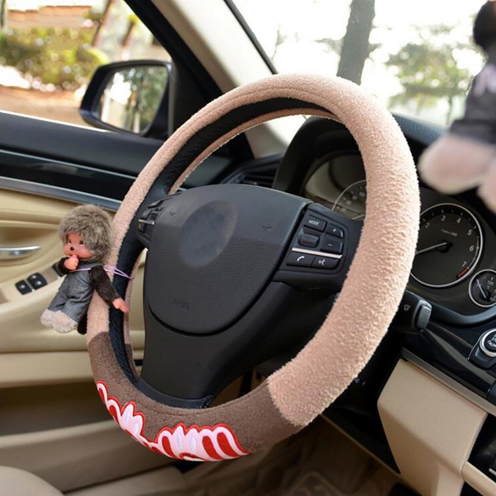 Auto Accessories 2018 Car Steering Wheel Cover Styling Female Girl Car Cartoon Cute Pink Winter Cute Shape, Beige, 38CM