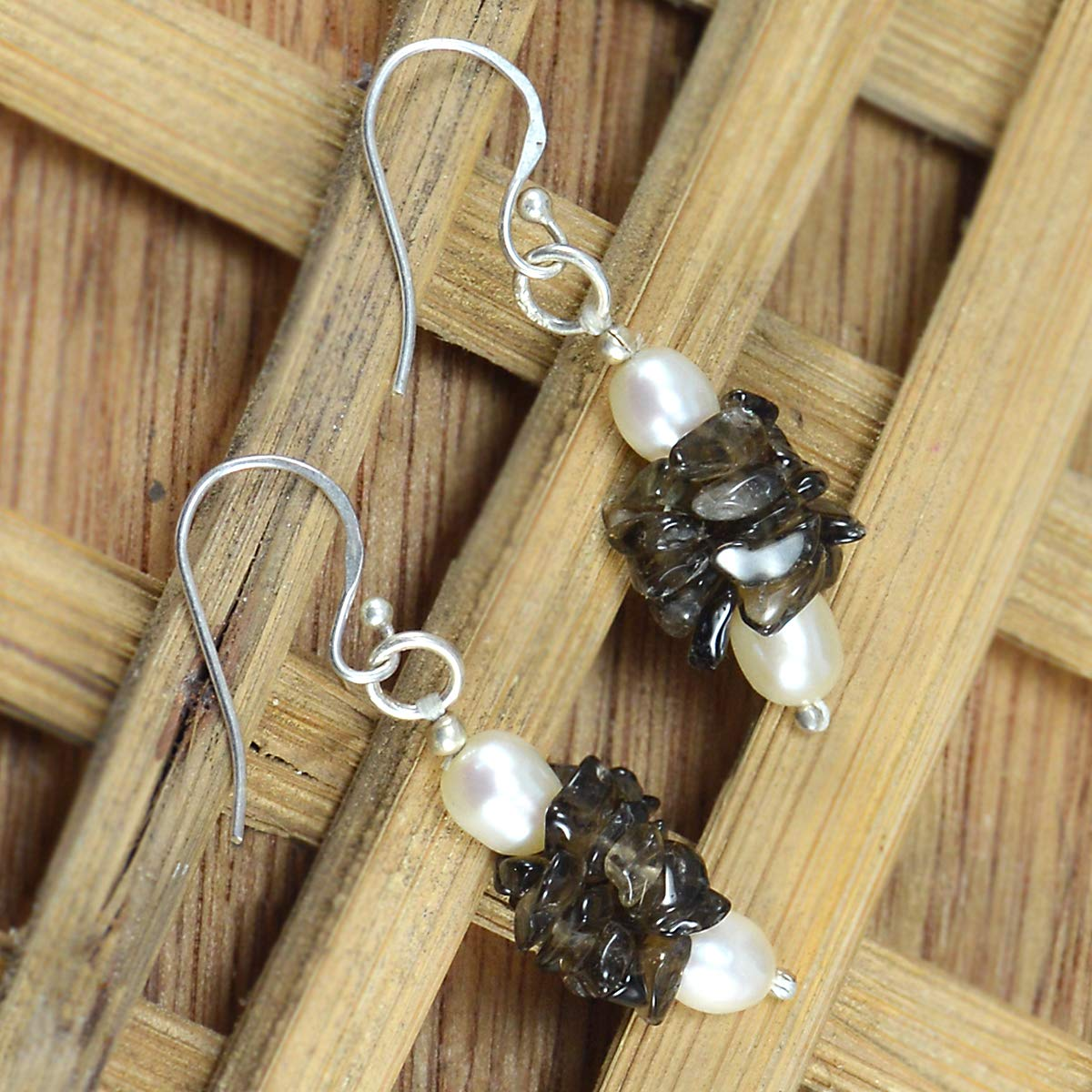 Handmade Jewelry Manufacturer Chips Smoky Quartz /& Pearl 925 Sterling Silver Wire-Wrapped Dangle Earring Jaipur Rajasthan India