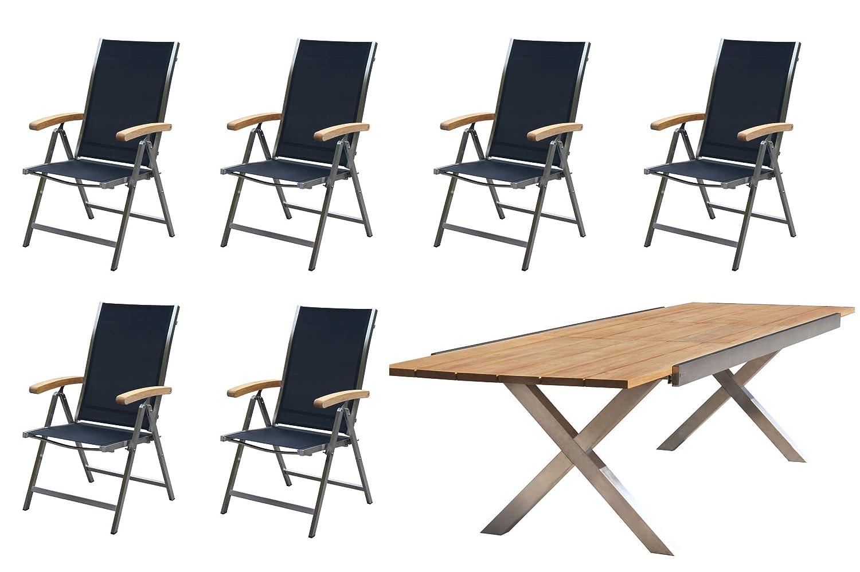 OUTFLEXX Sitzgruppe, schwarz, Edelstahl/Teak, Tisch 245/300x100cm, 6 Multipositionssessel