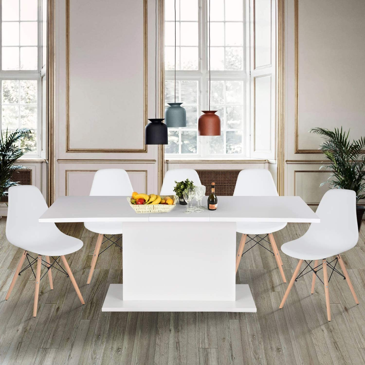 High Gloss White Extendable Rectangular Dining Table Homy Casa Multifunction Space Saving Wood Table High Gloss White Top Amazon Ca Home Kitchen