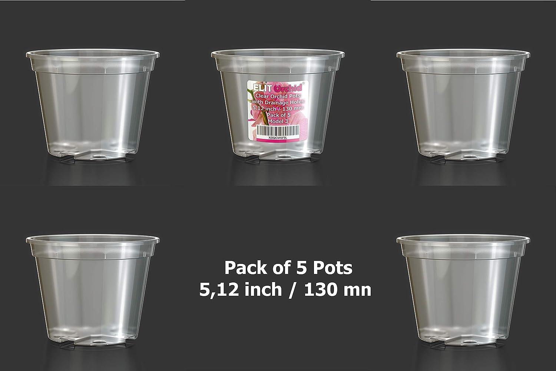 Set di vasi per orchidee con fori confezione da 5 pezzi in plastica trasparente per drenaggio 13 cm