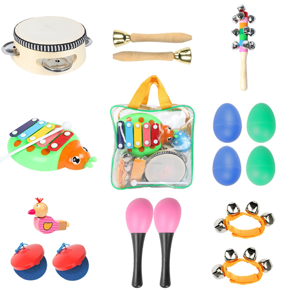 Toddler Toys Musical Instruments - Ehome 9 types 16pcs Percussion Toy Set for Kids