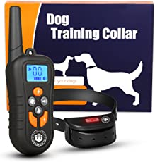 JIALANJIUYU Dog Training Collar,Shock Bark Training Collar for dogs, NO Hurt and Rechargeable and IP7 Level Waterproof with 1800FT Remote Electronic Collar Modes for Small Medium Large Dogs