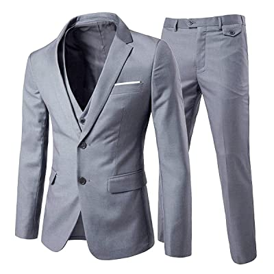 Cloudstyle Men's 3-Piece 2 Buttons Slim Fit Solid Color Jacket Smart Wedding Formal Suit at Amazon Men's Clothing store