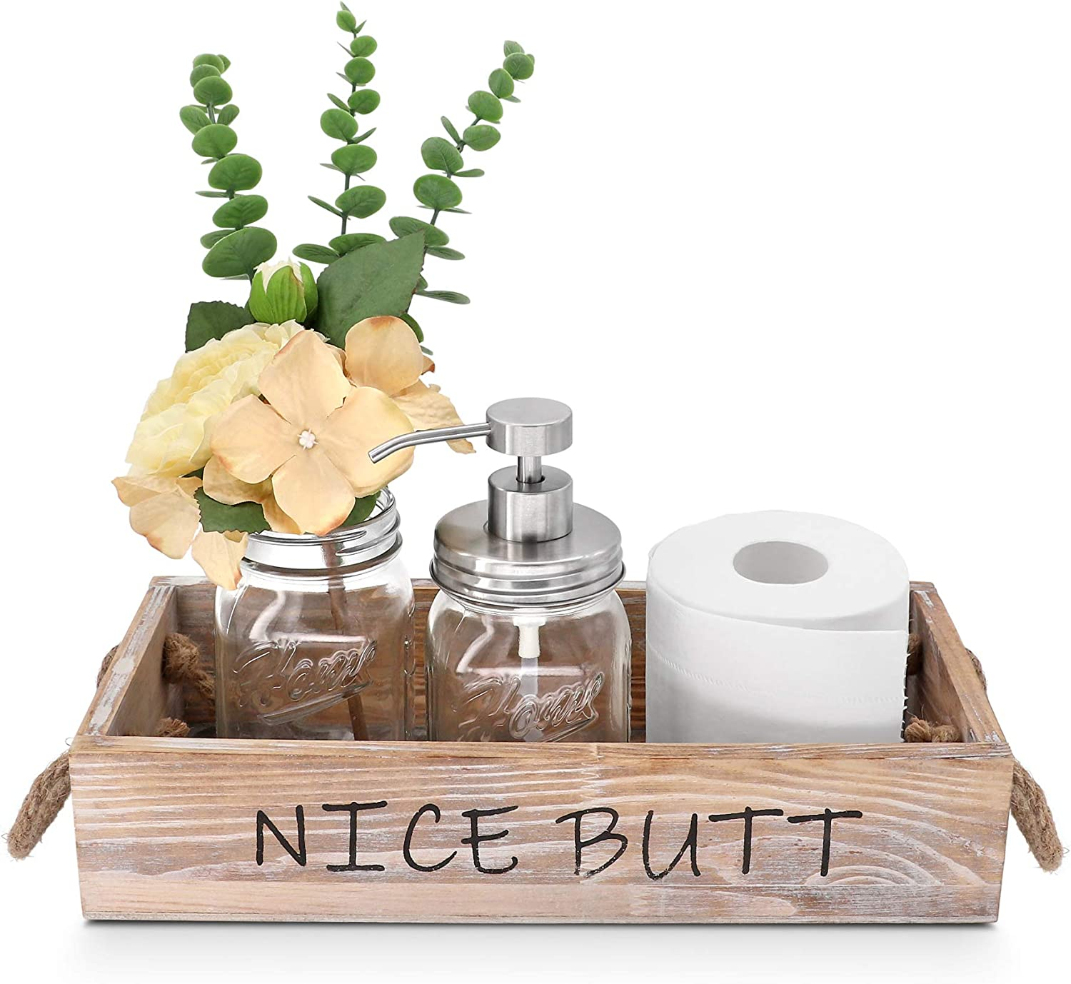 GBtroo Nice Butt Bathroom Decor Box- Rustic Wooden Toilet Paper Organizer Box with Mason Jar Soap Dispenser& Rose Flowers for Diaper Organizer,Toilet Paper Storage,Funny Gift, Medium Brown