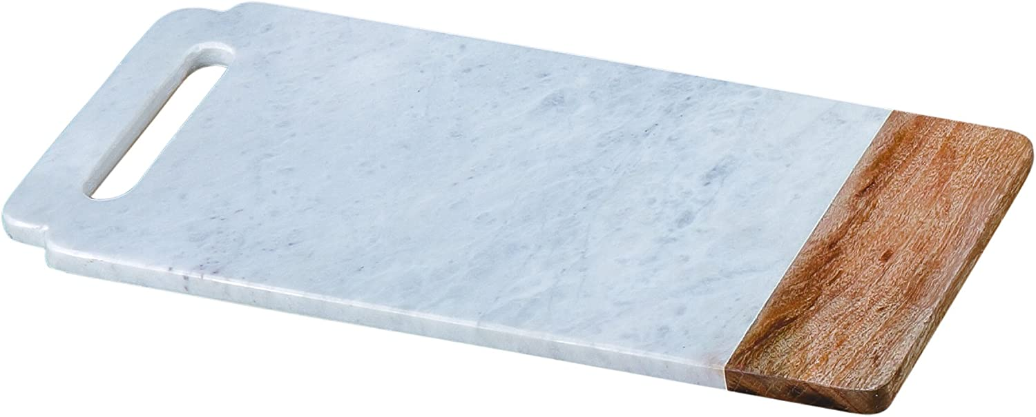 """Creative Home White Marble With Mango Wood Pastry Board, Cheese Platter, 18"""" x 9"""""""