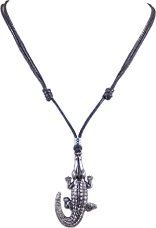 BlueRica Gator Pendant on Adjustable Cord Necklace (Old Silver)