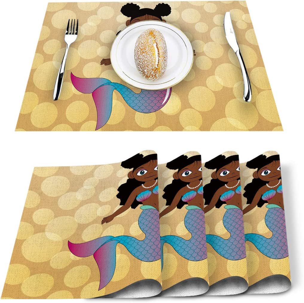 Whimsical Placemats Set of 4 - Watercolor Serenade  by elizabethatlas Abstract Watercolor Cloth Placemats by Spoonflower