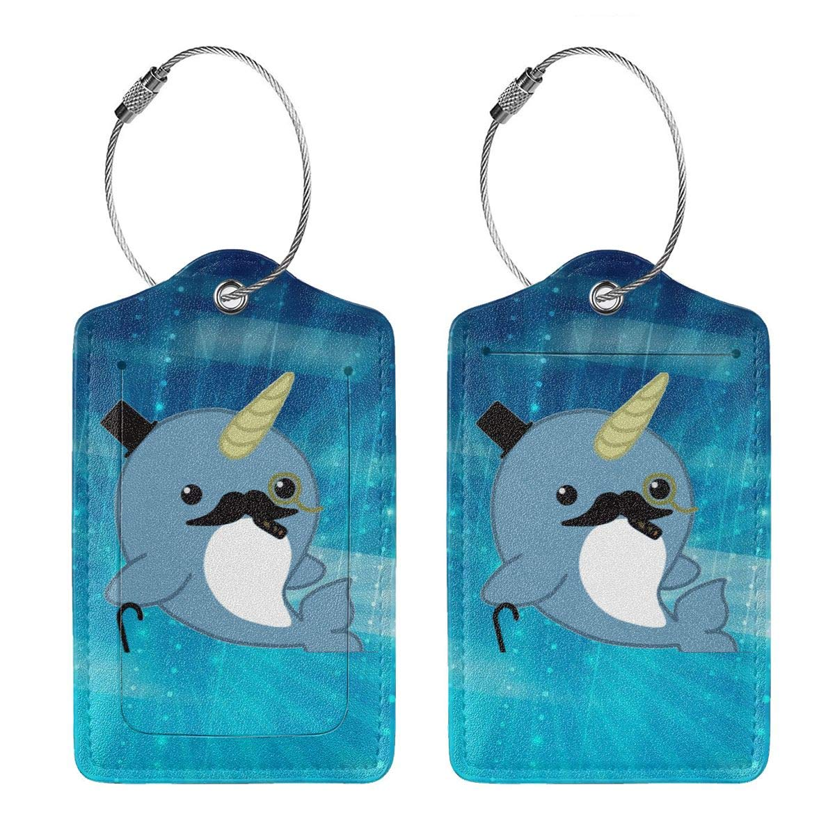Fancy Narwhal Travel Luggage Tags With Full Privacy Cover Leather Case And Stainless Steel Loop