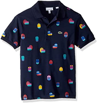 b9266136f6 Amazon.com: Lacoste Boy Short Sleeve Video Game All Over Print Pique Polo:  Clothing