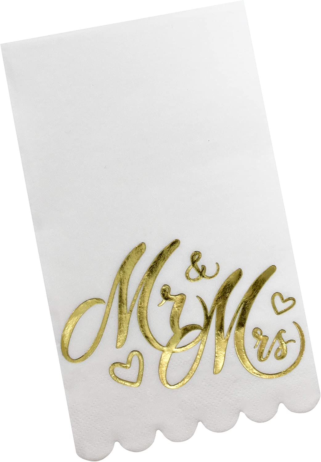 100 Mr and Mrs Guest Napkins Disposable Paper Pack Elegant Dinner Hand Napkin with Scalloped Edge and Gold Foil For Bathroom Wedding Anniversary Birthday Baby Shower Decorative Towels By Gift Boutique