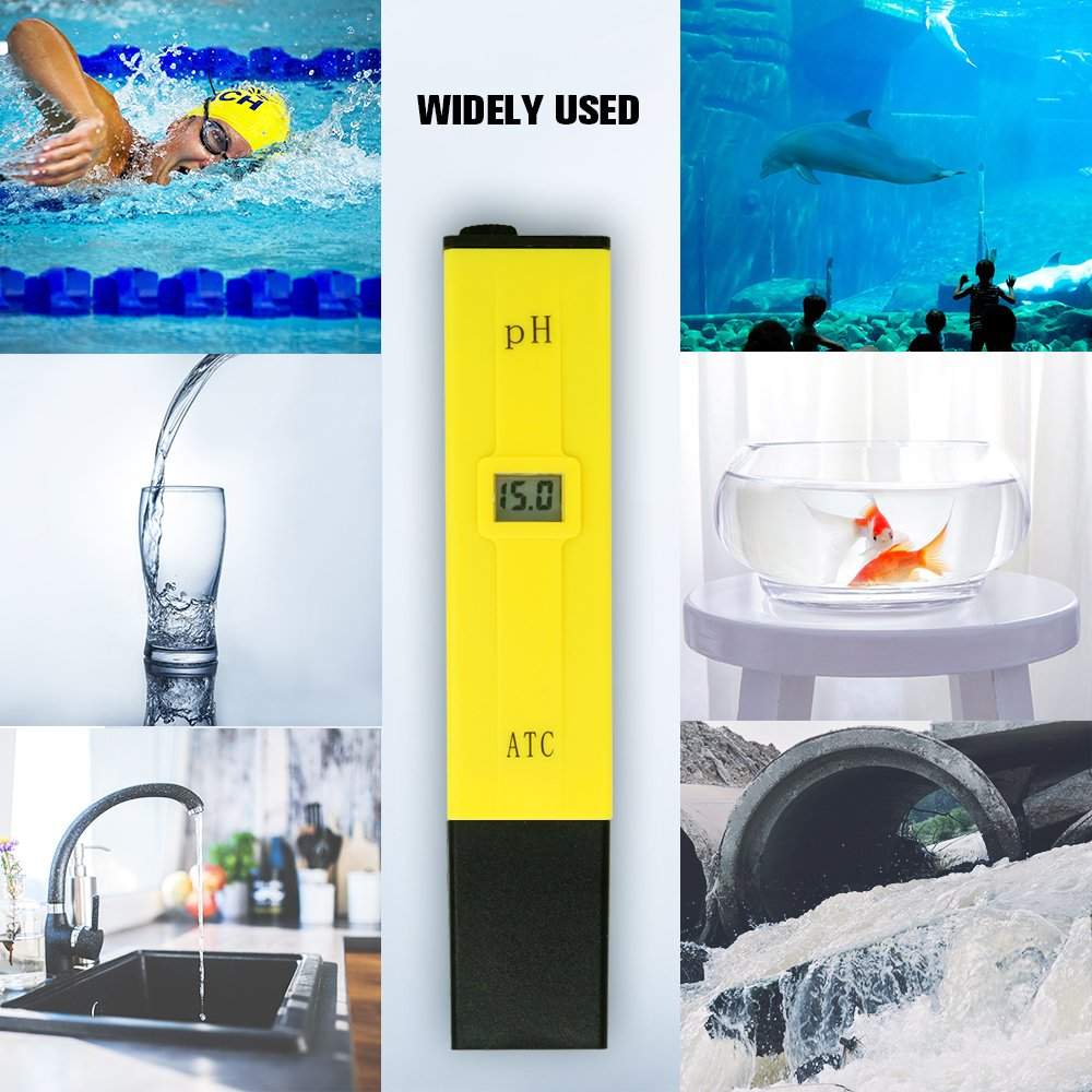 PH Meter, Daugee Pocket Size 0.01 PH High Accuracy Water Quality Tester with Auto Temp Compensation Function for Household Drinking, Pool and Aquarium (Yellow) by Daugee (Image #7)